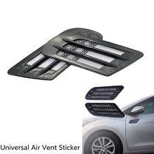 2 Pcs Car Carbon Fiber Style Body Side Air Flow Vent Intake Grille Decor Sticker