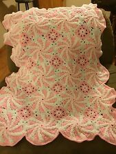 Baby blanket, baby pink, hand made, Peppermint pattern crochet blanket