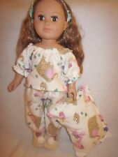 Doll clothes for American Girl & 18 inch dolls/flannel pjs/pillow/slippers