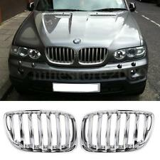 Pair Chrome Front Hood Sport Kidney Grills Grilles For BMW X5 E53 2004 2005 2006