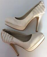 Next Occasion Uk4 Eu37 Ivory Cream Wedding Shoes Courts Platform Sole Worn Once