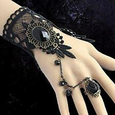 Black Lace Flower Hand Slave Harness Cuff Bracelet Chain Ring Supplies YI