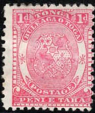 Tonga 1892 pale-rose 1d NZ star perf 12X11.5 mint SG10