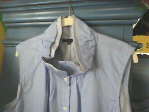 Lafayette 148 New York Blue Cotton Shirt 16 18 XL XXL w/ Stand-up Ruffled Collar