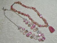 PINK GLASS & STONE BEADED SILVER TONE BOHO NECKLACE LOT