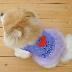 Pet Dress T-shirt Summer Spring Dog Cat Clothes Breathable Small Dogs Vest Puppy