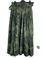 Vintage Women Skirt Floral Print Green High Waist Aline Drei Zinnen Wool UK 8/10