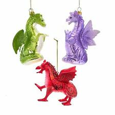Kurt Adler Red Purple Green Dragon 4.5 inch Glass Decorative Hanging Ornament...
