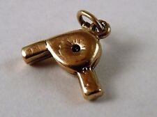 100% Genuine Vintage 9k Solid Yellow Gold Hair Dryer charm or Pendant