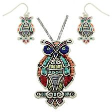 """Large Beautiful Owl Pendant Necklace and Earring Set with 24"""" Chain"""