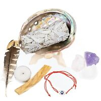 White Sage Smudge Kit with Instructions Abalone Shell Sage Bundle Cleanse Kit