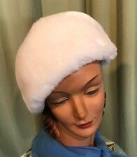 "Warm Vintage 60's 70's White Plush Faux Fur Beret Style Hat 21"" Around Inside"