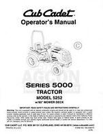 CUB CADET MODEL 5252 5000 Serie Operators Owners Manual