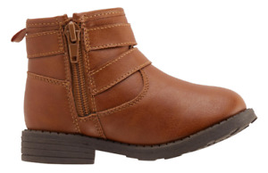 New Toddler Girl Casual Brown Size 7 Flat Heel  Buckle Ankle Boots Zip Up Side