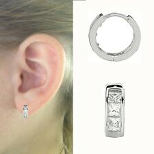 7c393e498 Sterling Silver Children's Princess Cut CZ Huggy Baby Huggie Hoop Earrings  10mm