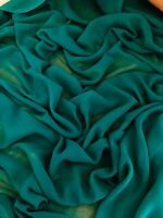 """5 MTR QUALITY EMERALD GREEN CHIFFON FABRIC...45/"""" WIDE £12.49 SPECIAL OFFER"""