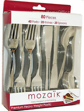 Quality Mozaik Plastic Silver Cutlery Knife / Forks / Spoons Catering 80 Piece