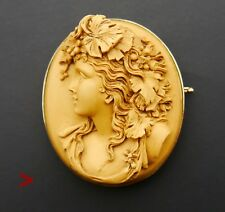 Antique Italian Brooch Carved Bacchante Lava Cameo solid 14K Rose Gold /24.8 gr