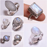 925 Sterling Silver Ring SIZE UK R 1/4, Natural Rainbow Moonstone Jewelry CR16