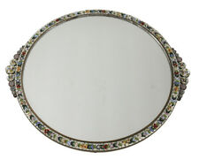 c1920 Italian Micro Mosaic Mirrored Footed Vanity Tray - floral mosaic frame
