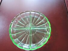"Depression Glass Divided Tidbit Dish-Green-7.5"" ?Vaseline?"