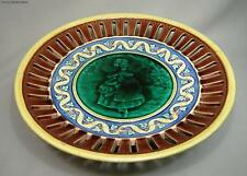 Antique Wedgewood Majolica Footed Pictorial Platter Pierced Rim Dated 1897