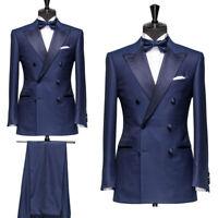 Mens Blue Suit Groomsmen Double Breasted Tuxedo Wedding Party Suit(Coat+Pant)