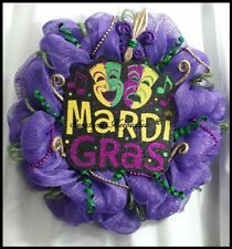 Mardi Gras Decor Mesh Door Wreath, Holiday Decor, Home Decor {Handmade}