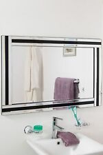 Large Wall Mirror Stylish Black and Silver Triple Edge Bathroom 1ft11 X 2ft11