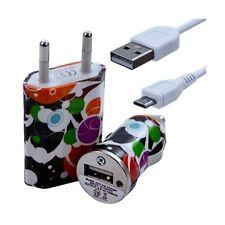 Mini Chargeur 3en1 Auto + Secteur USB + Câble Data avec CV12 pour HTC : One /