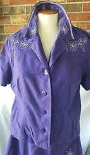 Melissa Harper Women 2 Pc Skirt Top Purple A-Line Flowers Petite 12 MHM
