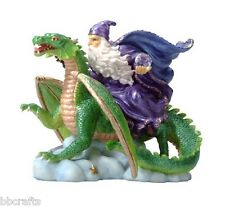 New In Box Alabastrite Merlin Wizard Riding Dragon Statue Collectible
