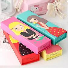 Cartoon Girl Paper Pencil Case Pen Box School Stationery Makeup Cosmetic Bag