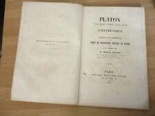 RARE PLAQUETTE 1857 Platon considéré comme fondateur de l'Esthétique