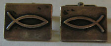 JAMES AVERY VINTAGE STERLING SILVER FISH ICHTHUS CUFFLINKS