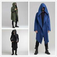 Men Long Hooded Jacket Cardigan Cloak Coat Long Sleeve Casual Autumn Winter Tops