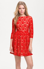 French Connection Lizzie Fit & Flare Red Lace Dress Size 10 $198
