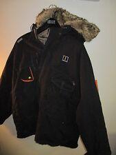 AKADEMIKS Reversible Black Cotton / Faux Fur Hooded Coat / Jacket XXL A9 2XL
