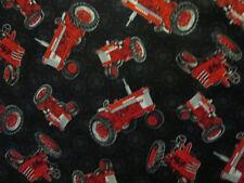 Tractors Farmall Red Tractor Black Genuine Parts Cotton Fabric FQ