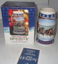 1995 BUDWEISER HOLIDAY BEER STEIN LIGHTING THE WAY HOME IN ORIGINAL BOX COA Disp