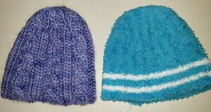 2 girls KNIT WINTER HATS 1 blue white stripe 1 purple knit ages 4 to about 8 CUT
