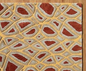Modern Abstract Rust Gold High-Low Hand-Tufted 100% Wool Soft Area Rug Carpet.