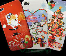3X Custodia cover BUON NATALE+Pellicola per iPhone 4 4G