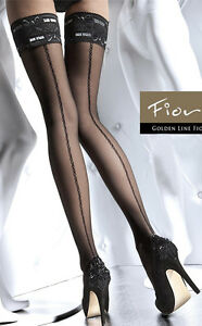 Lace Top Holdup Stockings Seamed or Unseamed in Black or Brown. S, M, L, XL