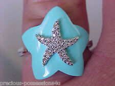$977 EYE-CATCHING! 14K FANCY STAR CUT ROBINS EGG BLUE TURQUOISE DIAMOND RING