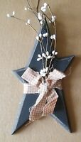 Rustic Primitive Vintage Country BLUE Wood STAR Pip Berry Berries Decor Sign
