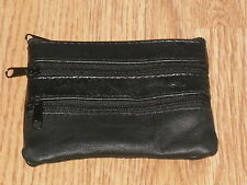 A Small Soft Leather Coin/Change Purse With 4 Zip Pockets In Black Sheep Nappa.