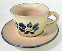 PFALTZGRAFF Folk Art Coffee Cups #001 & Saucers 3 set Lot USA Vintage Stoneware