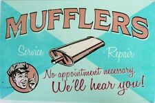 MUFFLERS SERVICE & REPAIR  Metal tin Sign 300 X 445 aged look. all weather sign.