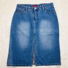 Vtg Vintage Mossimo The Buckle Front Kick Slit Denim Jean Skirt 90s Size 11 Jrs